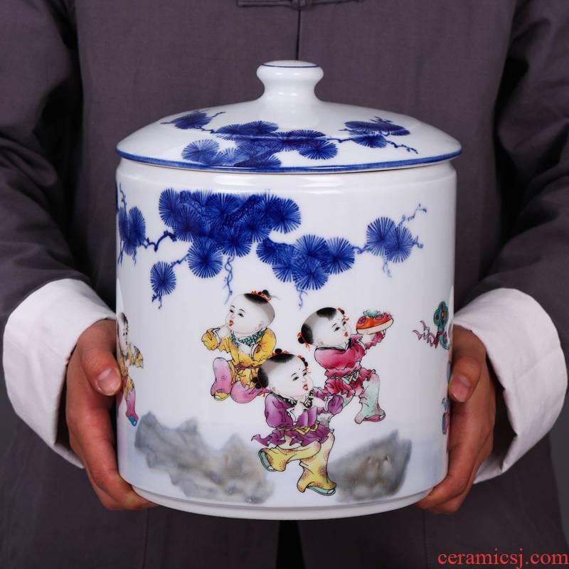 Jingdezhen ceramic tea cake large pot seal tank general storage tank porcelain tea pot tea urn