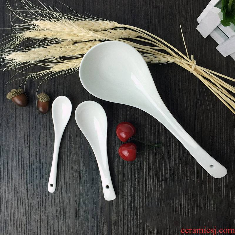 Yao, pure white ipads China porcelain spoon size white porcelain spoon, small spoon to ultimately responds soup spoon, ceramic spoon, small spoon