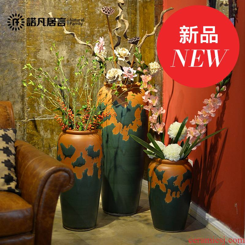 Ceramic vase landing dried flower color glaze up European - style villa hotel furnishing articles big sitting room decoration household act the role ofing is tasted