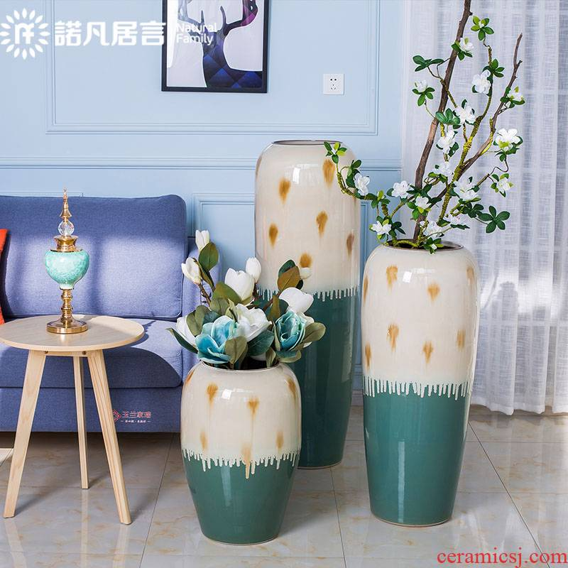 Ceramic floor sitting room hotel European - style villa large vase flower arranging furnishing articles dried flowers Nordic contracted modern decoration