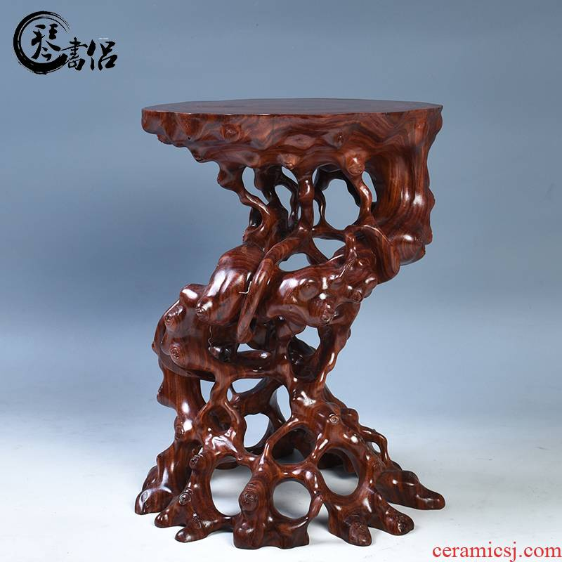 Pianology picking red wingceltis carved with stone, jade bonsai base base round solid wood flowerpot base