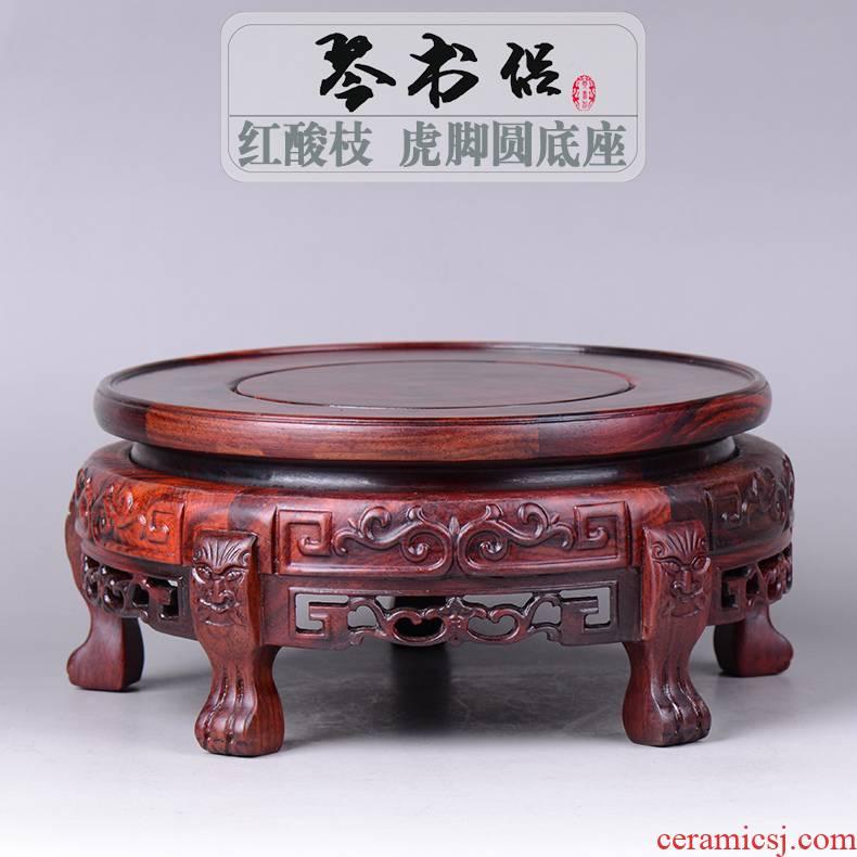 Pianology picking red rosewood carving round tiger foot base vase base aquarium furnishing articles of handicraft base