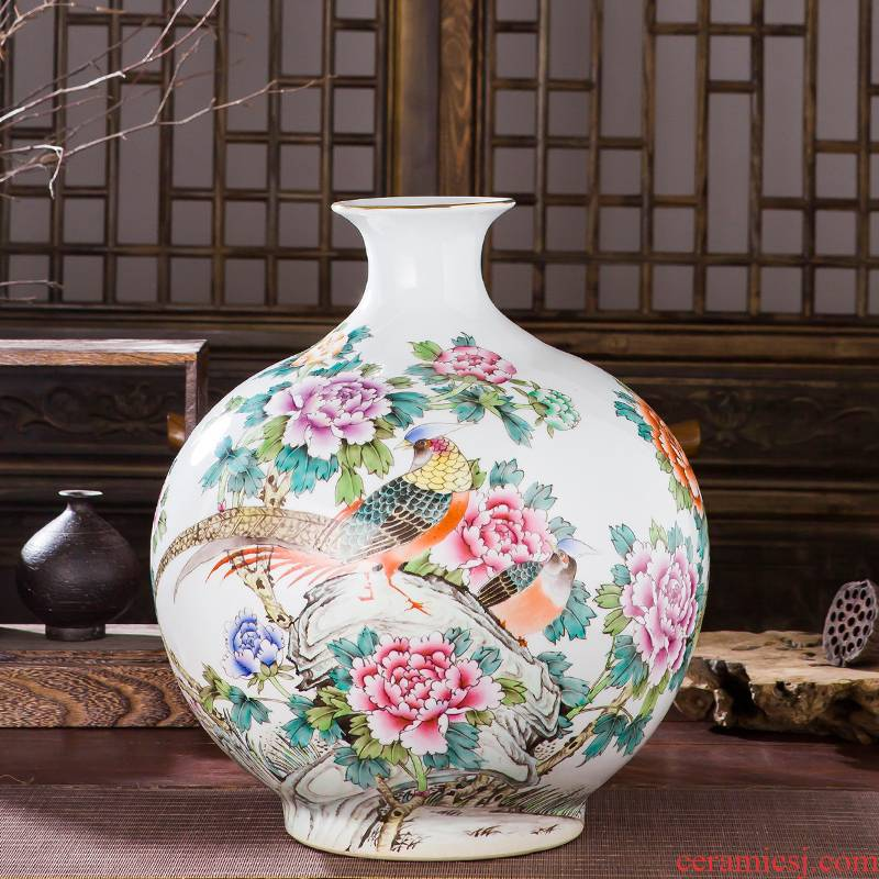 Jingdezhen ceramic antique hand - made pastel peony flower vases, the sitting room porch decoration of Chinese style household furnishing articles