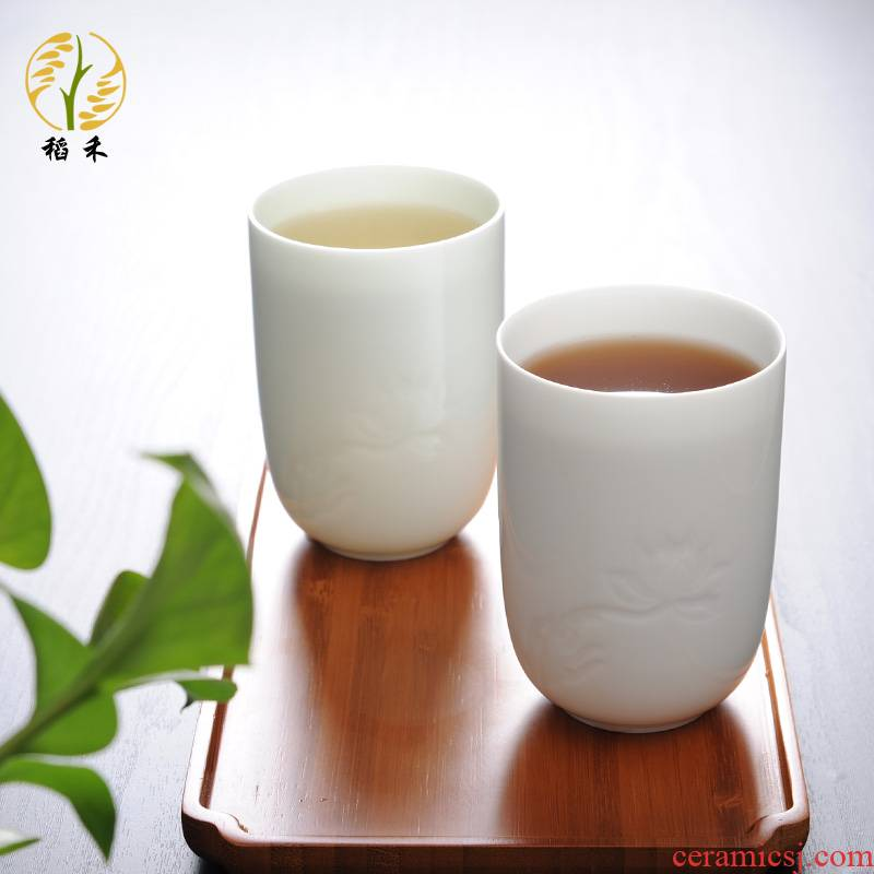 Jingdezhen ceramic cups white porcelain cup of carve patterns or designs on woodwork household contracted sitting room tea ultimately responds cup celadon office