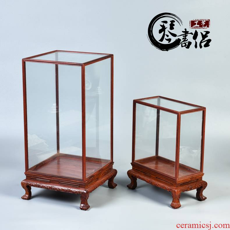 Annatto cage treasure jade show real woodcarving figure of Buddha of the glass stone base cover dust cover furnishing articles of handicraft