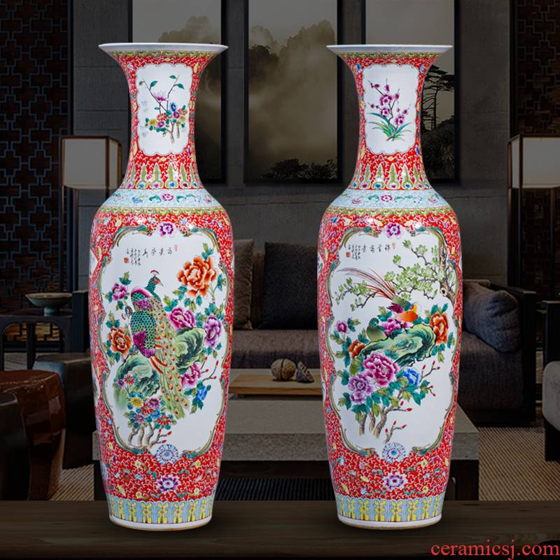 Jingdezhen ceramics hand - made large vases, antique Chinese style hotel furnishing articles new home decoration large living room