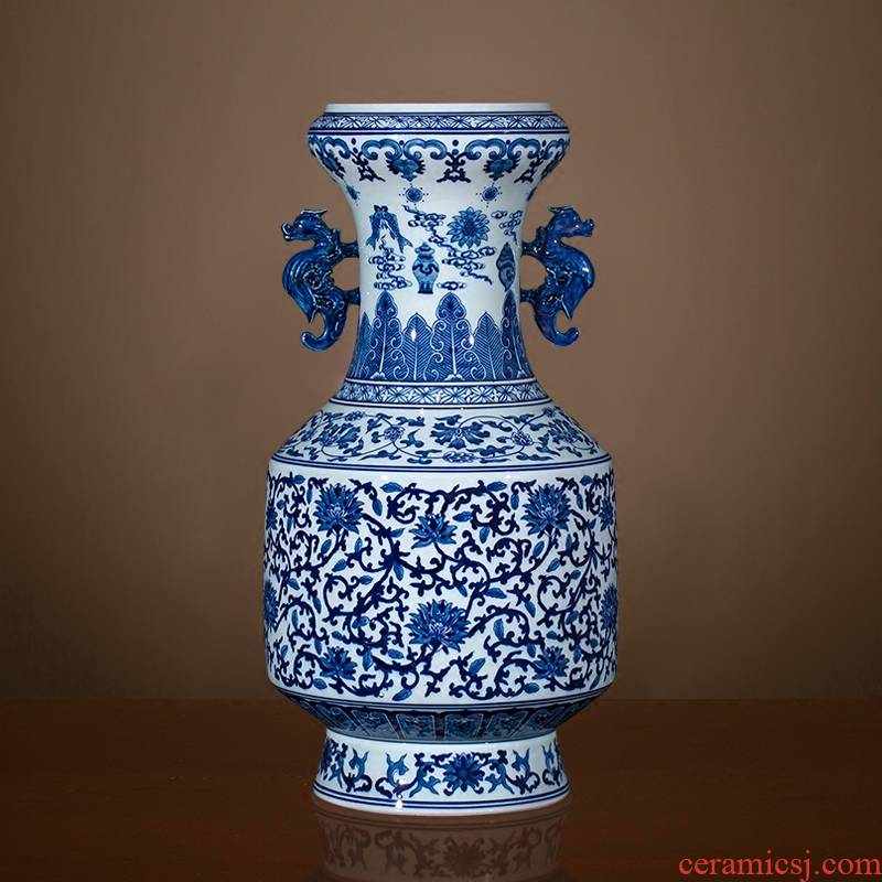 Imitation the qing qianlong hand - made of blue and white porcelain of jingdezhen ceramics sweet ears archaize sitting room of large vase and furnishing articles