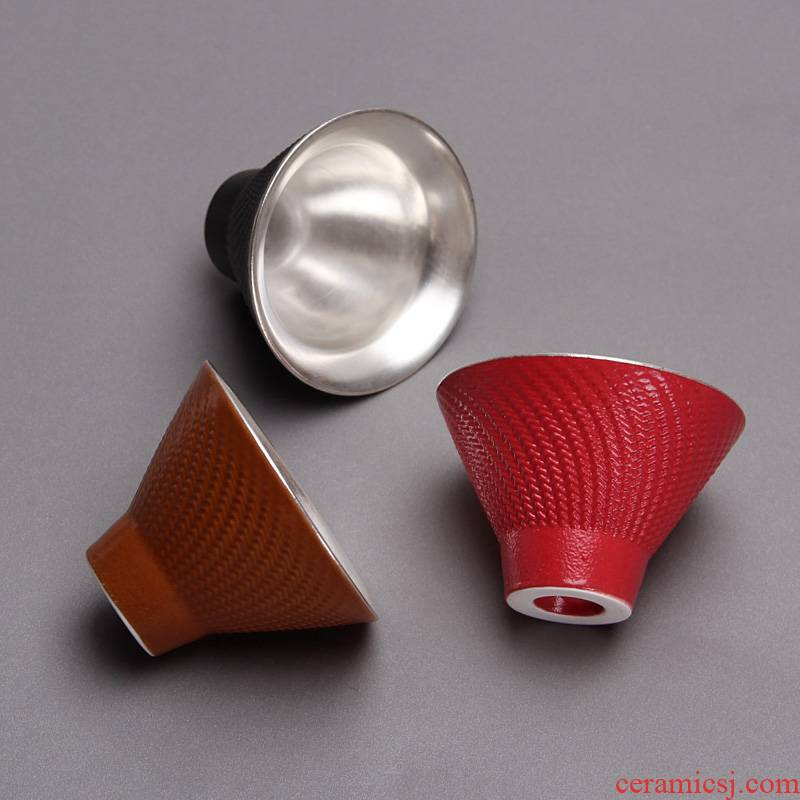 Mingyuan FengTang coarse pottery teacup regimen cup Taiwan tea sample tea cup silver cup kung fu master cup single cup perfectly playable cup