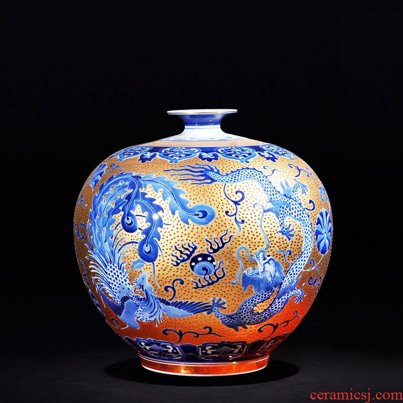 Jingdezhen ceramics high - end antique hand - made with Jin Longfeng pomegranate bottle craft ornaments furnishing articles new vase