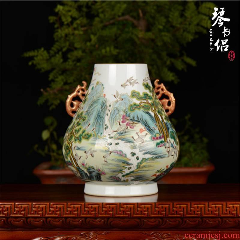 Pianology picking jingdezhen pottery and porcelain vases, antique art furnishing articles imitation qianlong official up enamel cranes ears