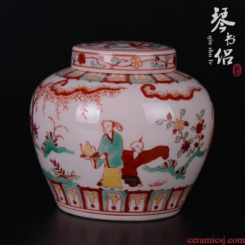 Pianology picking archaize of jingdezhen porcelain furnishing articles household handicraft chenghua red tire cover tank