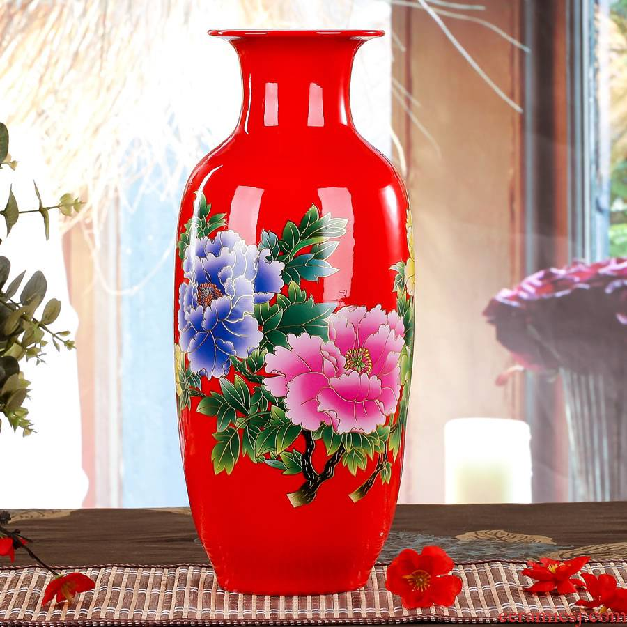 Jingdezhen ceramics China red vase large Chinese style wedding wedding sitting room place, home decorations