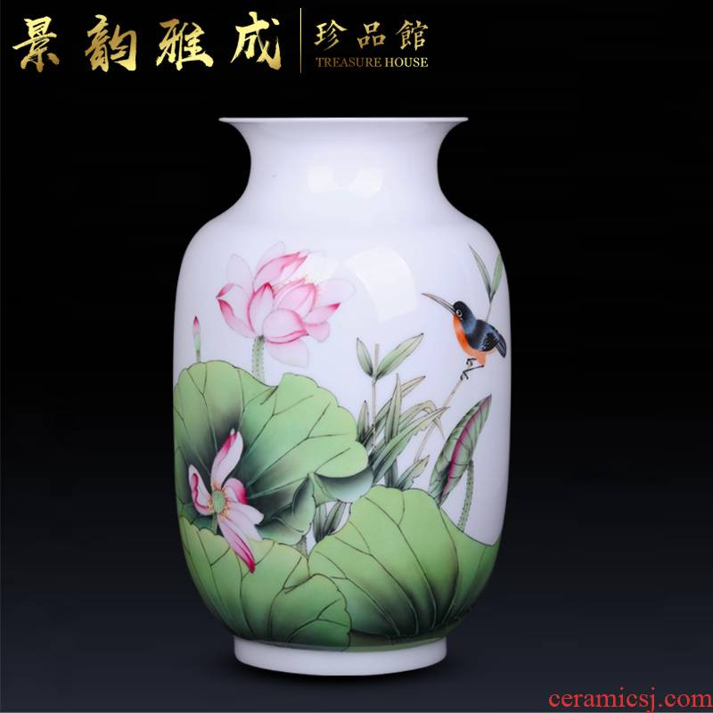 Jingdezhen ceramic home sitting room porch checking porcelain decorative flower vase is placed new Chinese arts and crafts