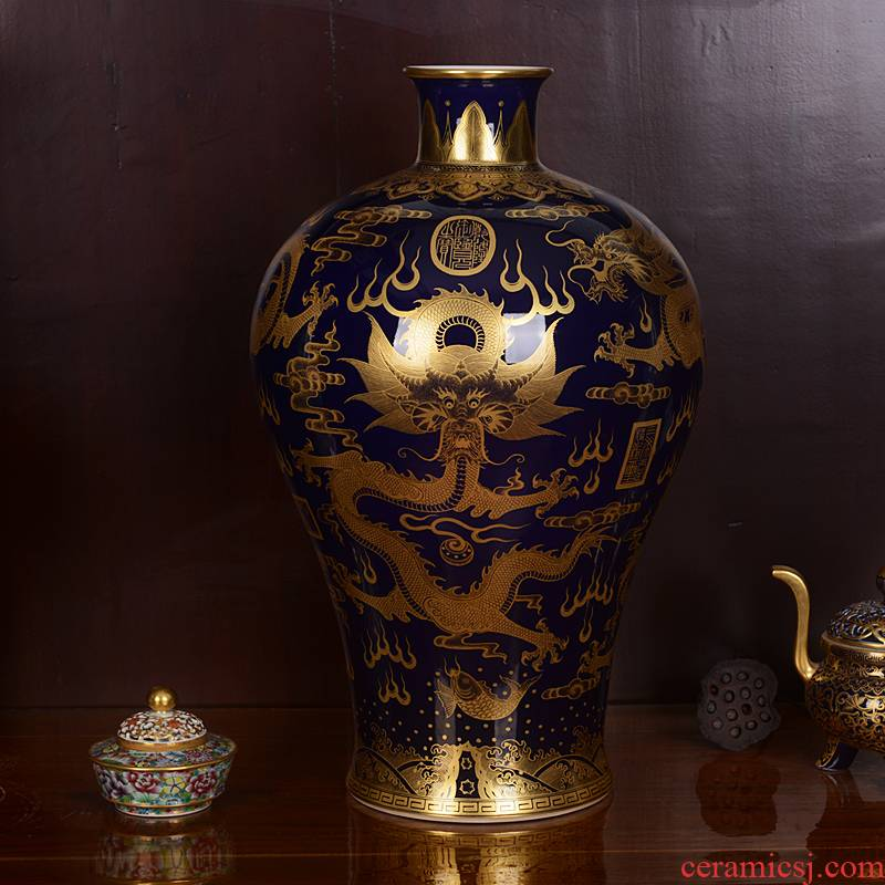 Jingdezhen ceramic vases, antique paint ji blue glaze dragon five Long Mei bottle handicraft home furnishing articles sitting room
