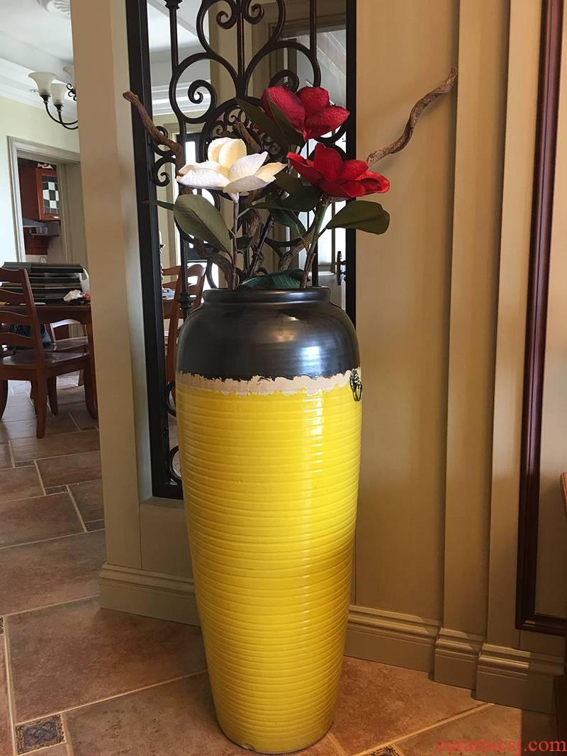 Modern ceramic vase color glaze up landing vase European American sitting room hotel villa place big vase