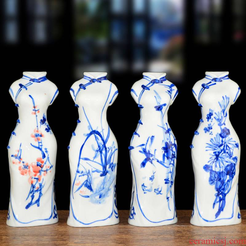 Jingdezhen ceramics creative hand - made cheongsam blue and white porcelain vases, small wine sitting room adornment handicraft furnishing articles