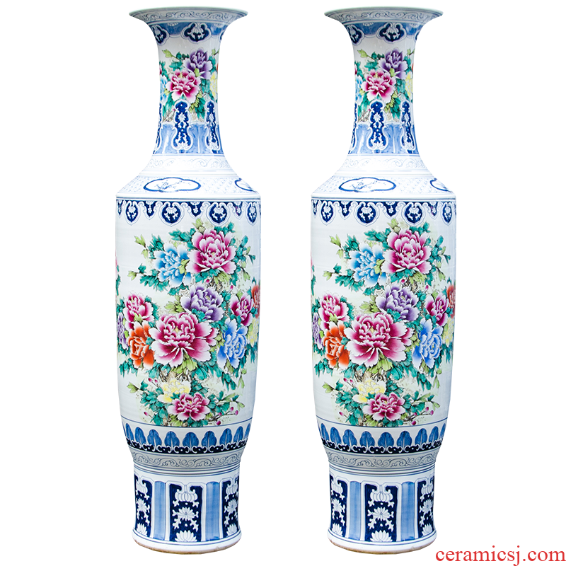 Jingdezhen ceramics hand - made famille rose blooming flowers large vases, Chinese style living room decorations furnishing articles Z056