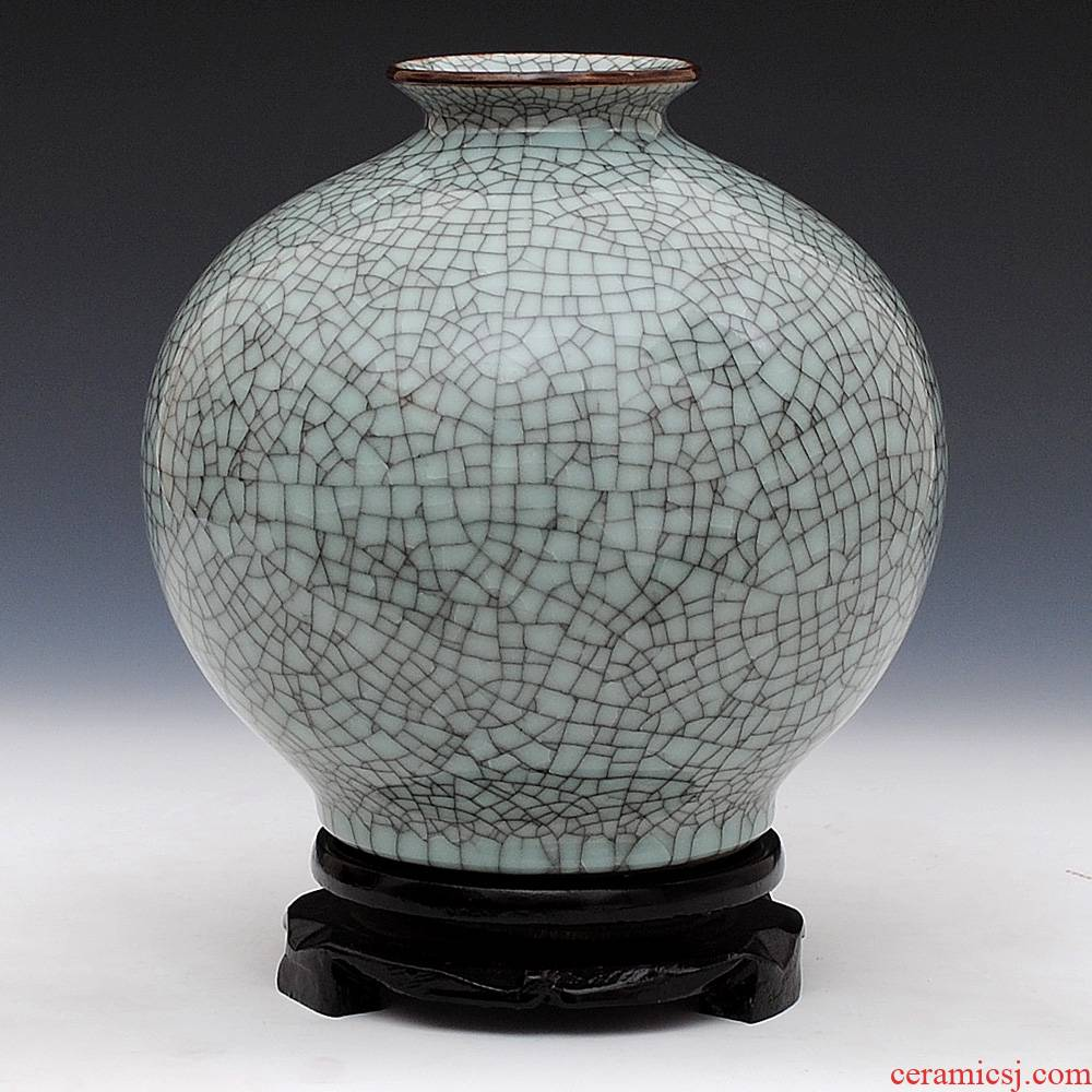 Jingdezhen ceramics glaze cracks archaize up vase pomegranate bottles of modern Chinese style living room decoration mesa furnishing articles