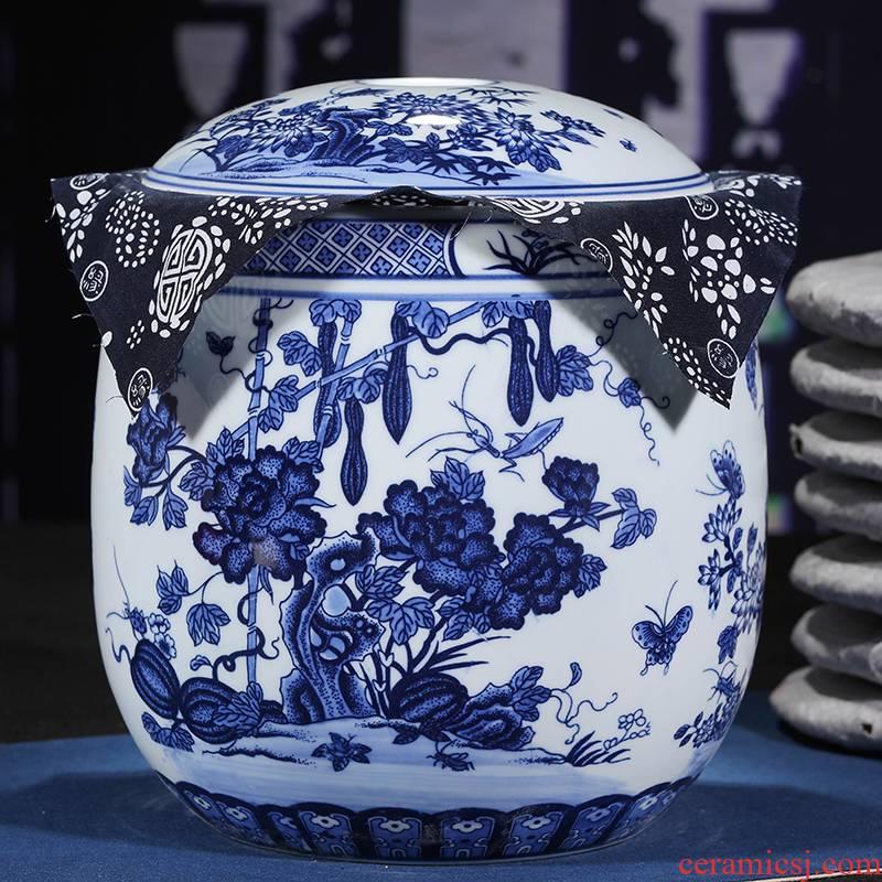 Jingdezhen ceramic bottle gourd tea canister to large - sized tank creative vintage pu - erh tea tea seal pot