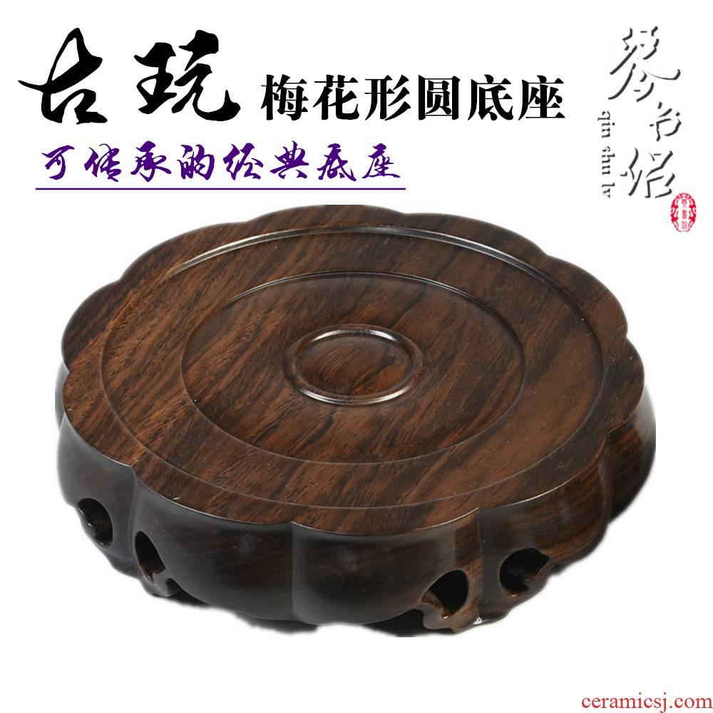 Pianology picking solid wood black monolith of catalpa wood round base vase stone, ceramic tea - pot of Buddha solid wood base