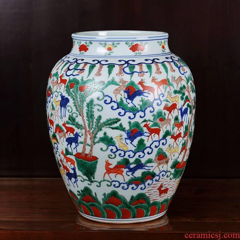 Jingdezhen ceramics deer imitation Ming wanli multicoloured hundred grain vase household craft sitting room adornment is placed