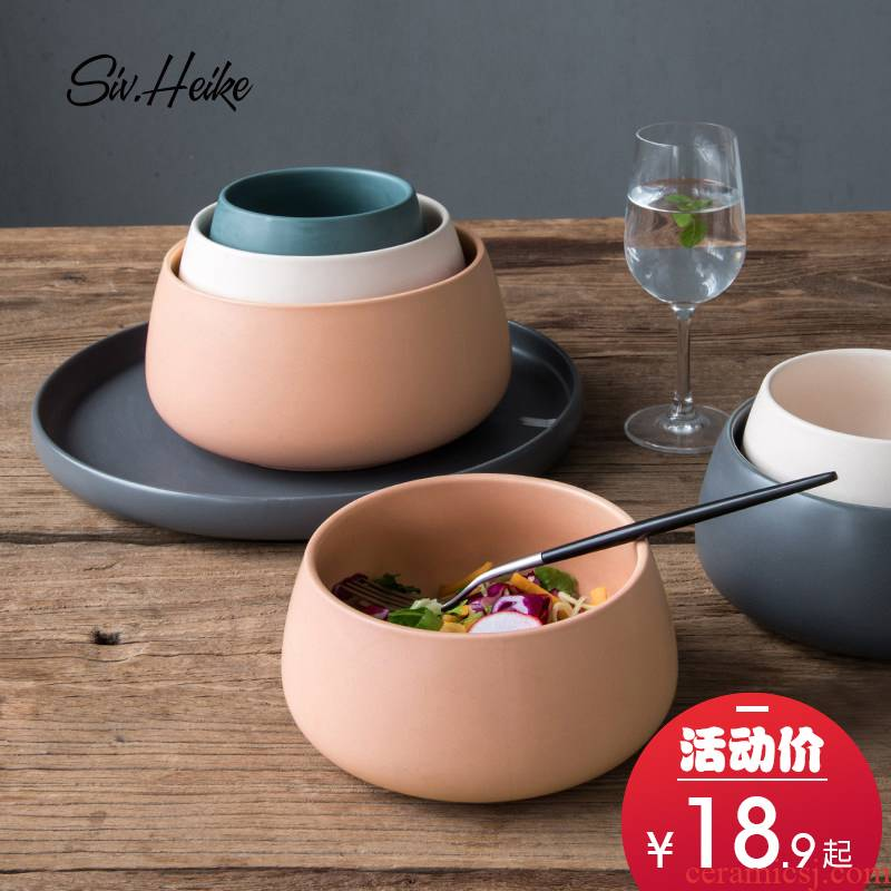 Simple Nordic ins household Japanese continental large ceramic bowl west tableware rainbow such as bowl bowl of soup bowl bowl of soup bowl