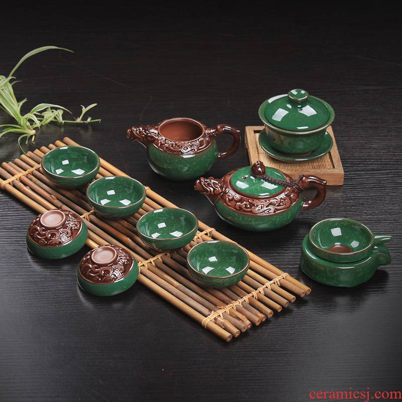 Ice crack relief dragon tea set piece of Ice to crack open the glaze ceramic kung fu tea cup lid bowl of a complete set of gift
