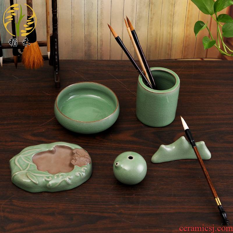 Your up porcelain ceramic brush pot writing brush washer inkstone suits for the study furnishing articles four treasures of the study desk decoration business gifts