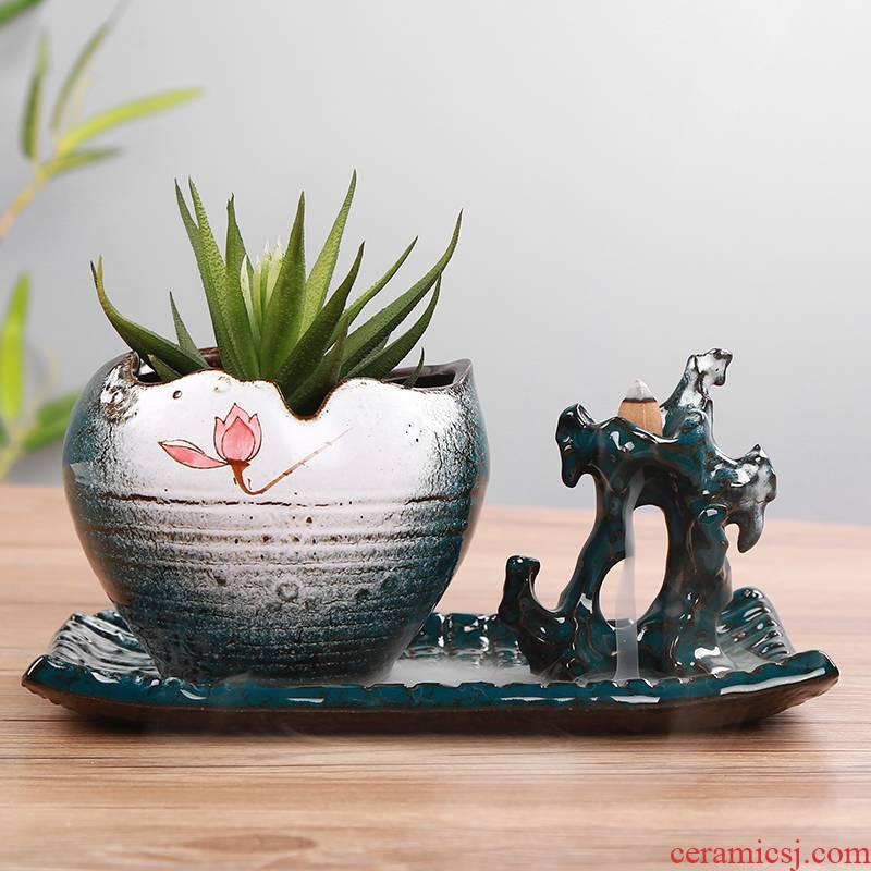 European green plant pot ceramic flower pot old zen calamus asparagus creative potted bracketplant, fleshy running the ceramic flower pot