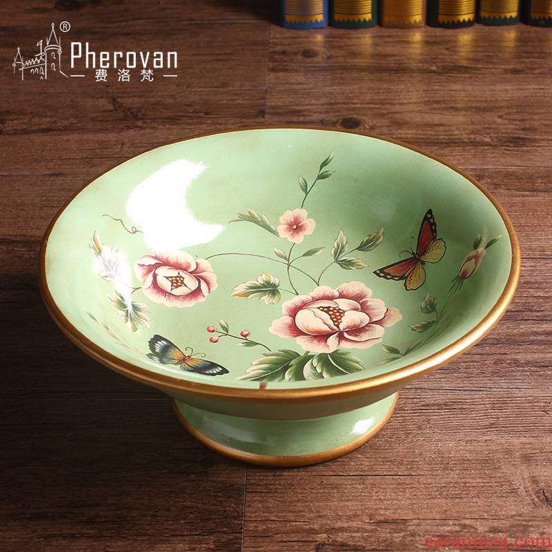 Measured the blessed one flower butterfly series Europe type restoring ancient ways of creative key-2 luxury compote sitting room decorate ceramic big fruit bowl furnishing articles