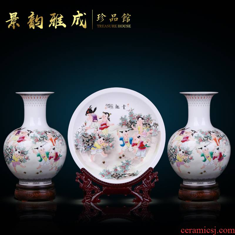 Jingdezhen ceramic manual hand - made vases furnishing articles three - piece household vases, flower arrangement of new Chinese style porch sitting room