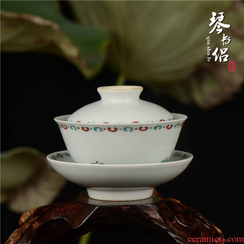 Pianology picking jingdezhen hand - made antique porcelain furnishing articles furnishing articles household act the role ofing is tasted the bucket tureen lid cup
