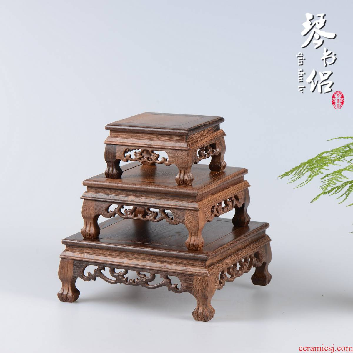 Chicken wings wood crafts square mahogany base it stone, jade antique solid wood antique porcelain base