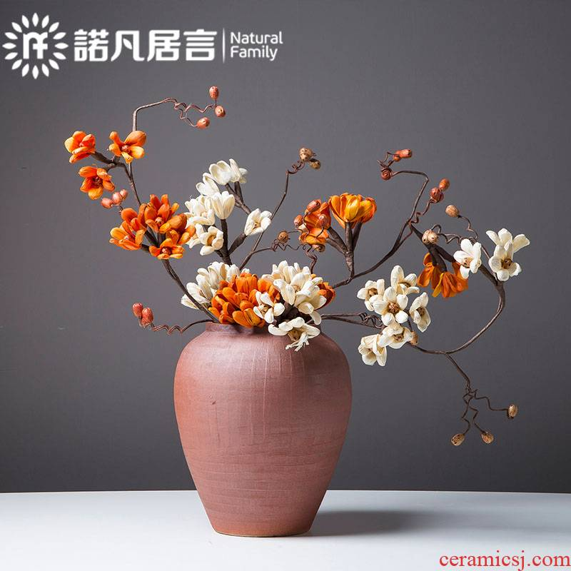 Mesa ceramic vases, dried flowers, flower arrangement furnishing articles retro nostalgia sitting room hotel coarse pottery decoration zen ornaments