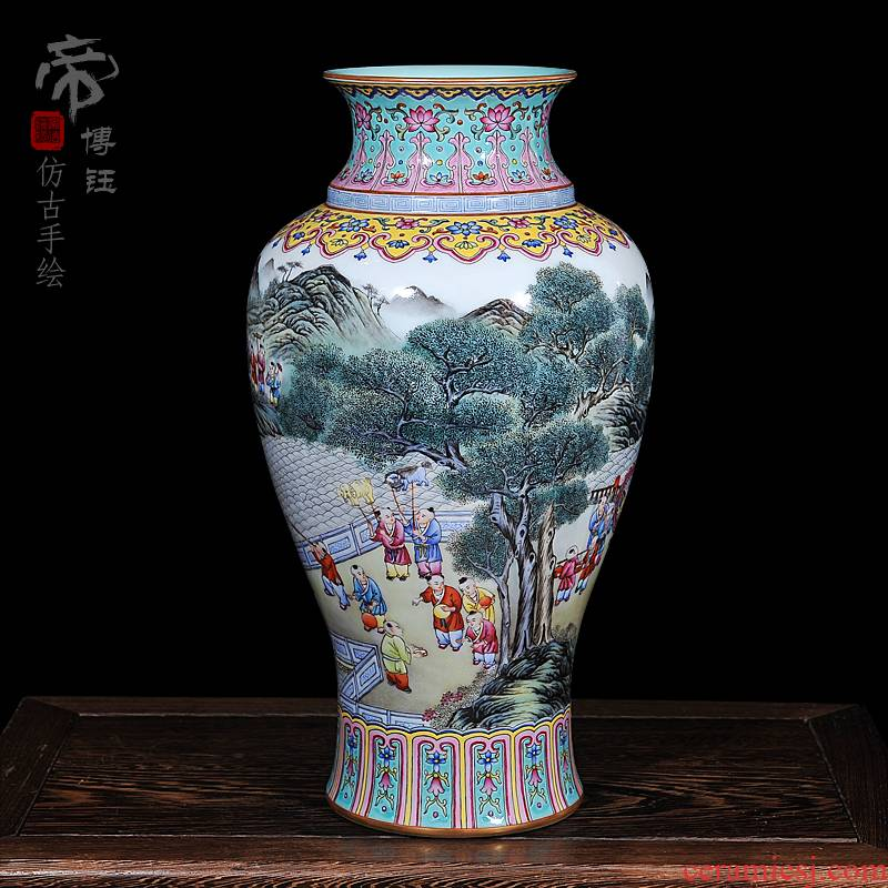 Archaize of jingdezhen ceramics powder enamel qianlong year all hand - made the lad fishtail bottle home have a sitting room furnishing articles