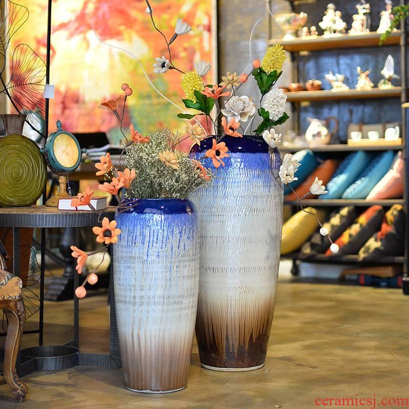 Jingdezhen ceramic floor vase garden villa decoration theme hotel furnishing articles take home decoration