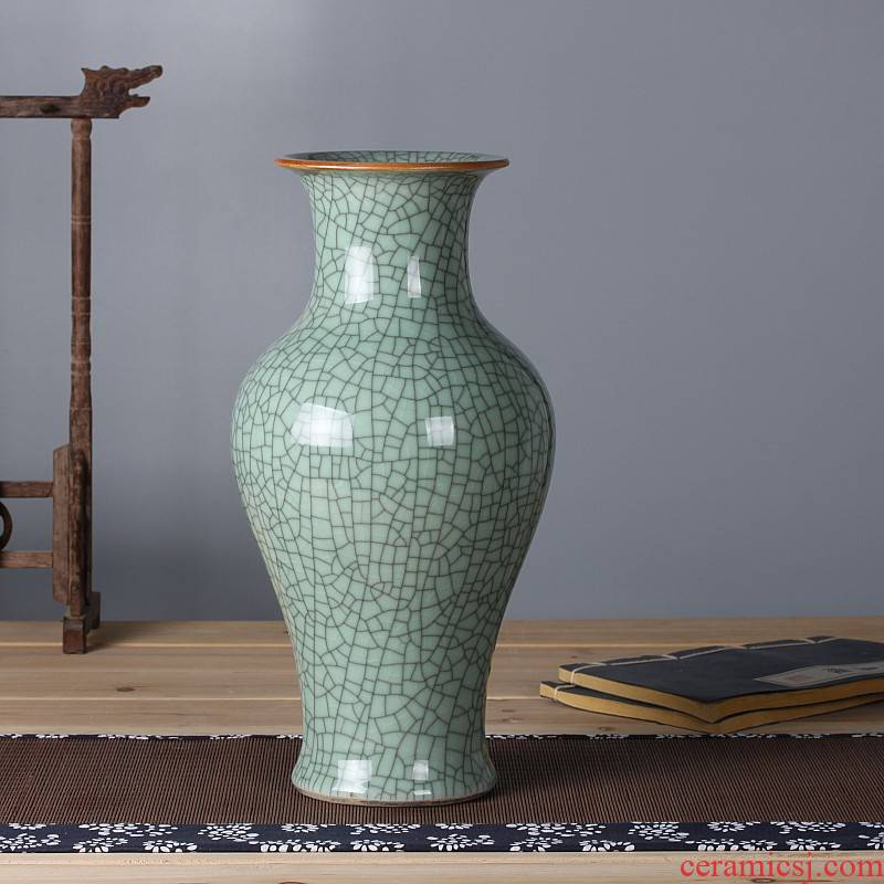 Archaize of jingdezhen ceramics up green glaze vase flower arranging open piece of crack Chinese classical sitting room adornment is placed