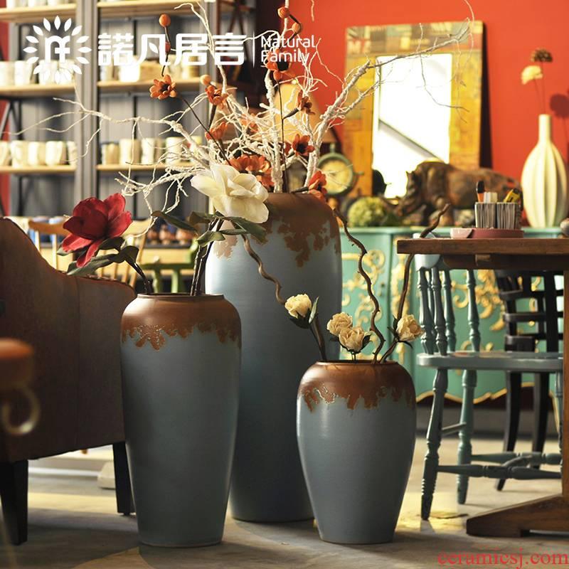 Large vase suit glaze up modern European sitting room decoration to the hotel villa furnishing articles dried flowers flower arrangement