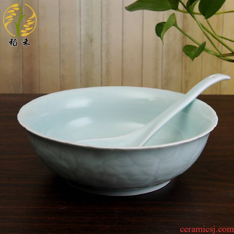 Your up celadon bowl spoon, bowl of the spoon combination basin of Chinese style classical pure and fresh and ceramic soup home hotel