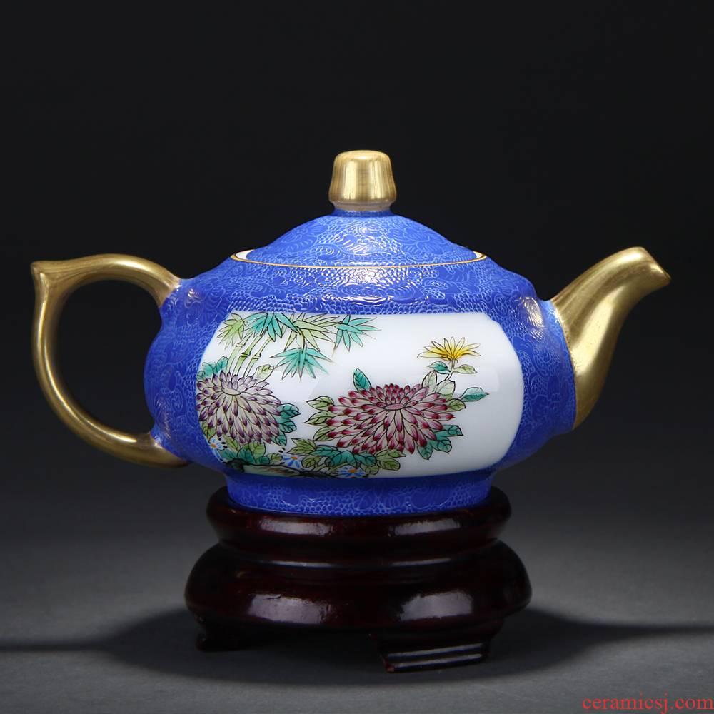 Treasure porcelain blue scramble for flower Lin pastel medallion persimmon flower pot of color glaze color, grilled hand - made of jingdezhen