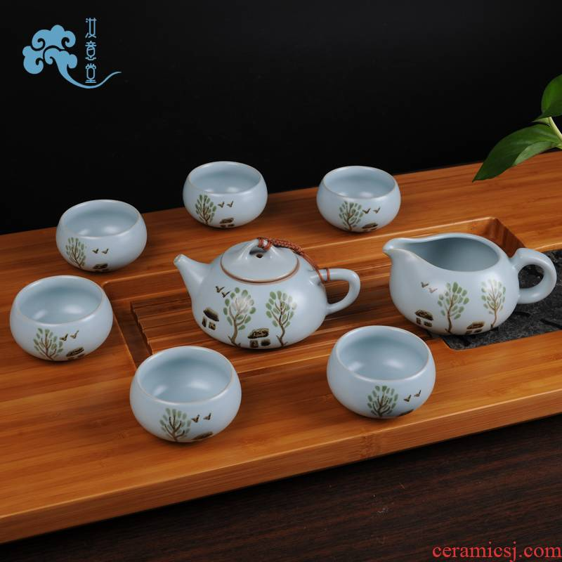 Archaize your up porcelain kung fu tea set ceramic teapot teacup azure open Chinese style restoring ancient ways for its ehrs home