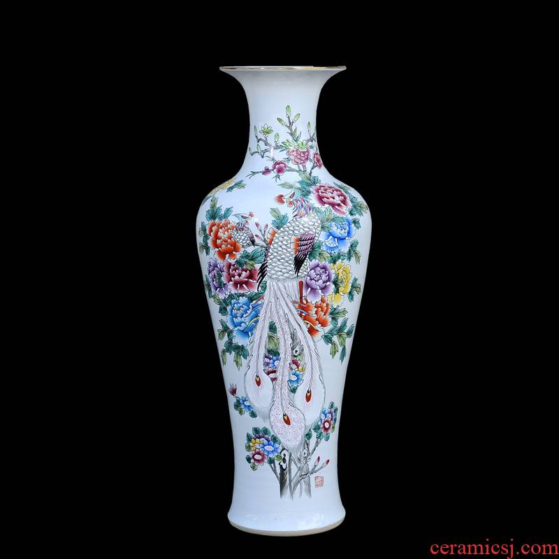 Jingdezhen ceramic vases, antique hand - made pastel notes tong rich goddess of mercy bottle of large vases, decorative furnishing articles