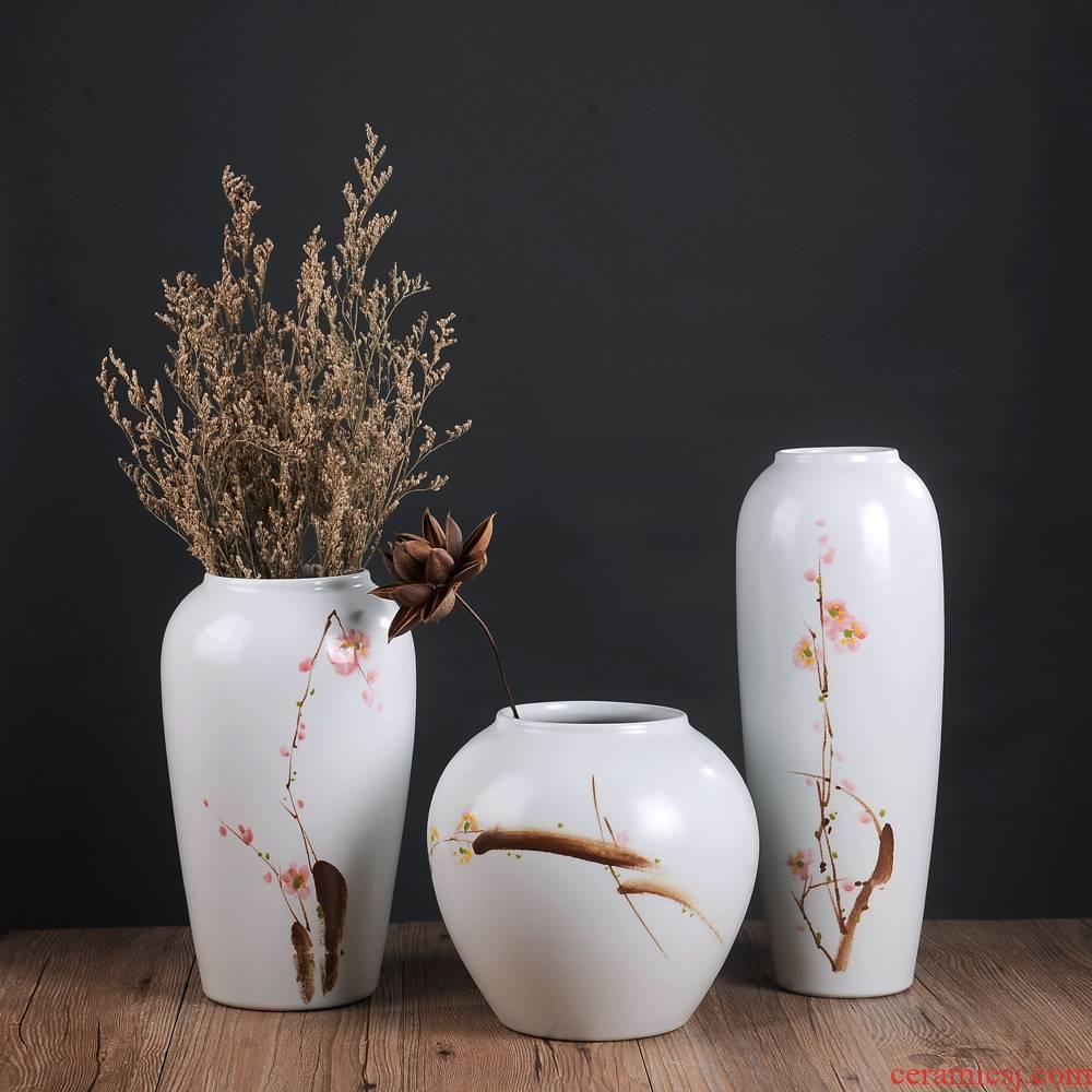 Jingdezhen ceramic vase furnishing articles sitting room flower arranging dried flower vases, flower implement creative three - piece household mesa adornment