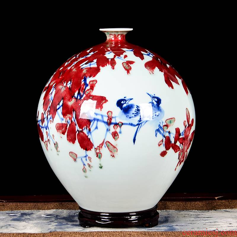Jingdezhen ceramics by hand draw much luck powder enamel vase modern Chinese style living room decoration furnishing articles