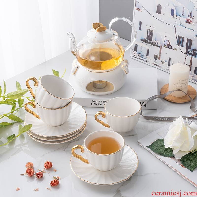 Golden butterfly ceramic flower pot flower the plants and flowers, and fruit tea coffee cup glass heat heating suits for