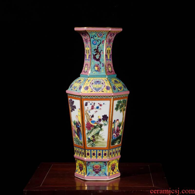 Jingdezhen ceramics antique vase furnishing articles imitation qianlong year pastel sitting room porch rich ancient frame decoration process