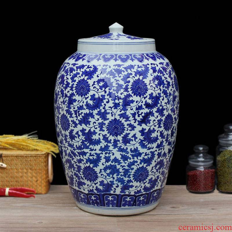Ceramic barrel 20 jins of 50 pounds with cover cylinder tank, it can save m barrels moistureproof jingdezhen buy one, get 4