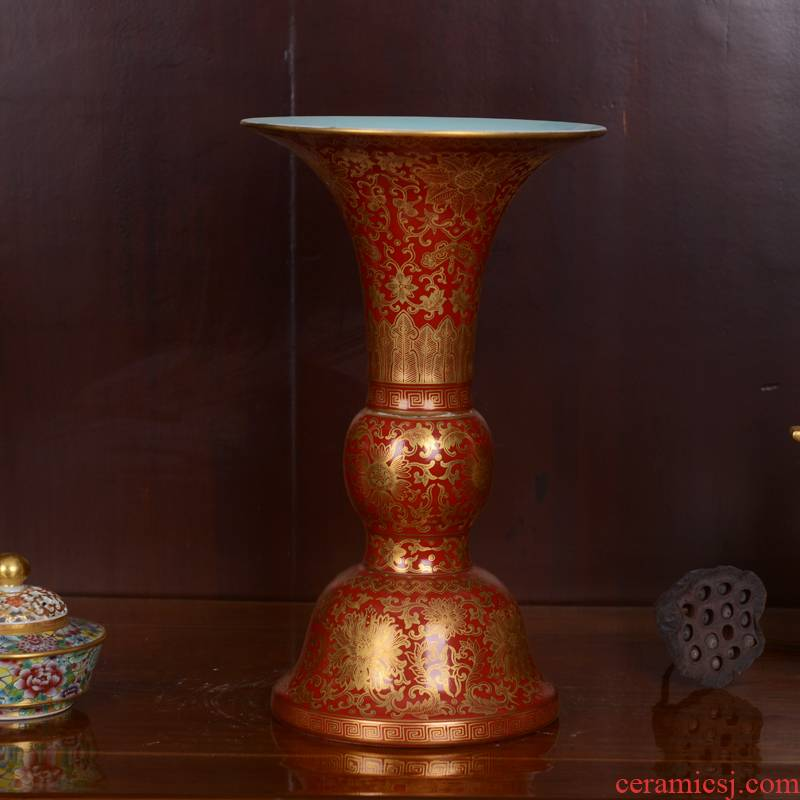 Jingdezhen ceramics high - end antique red groundswell technological sitting room place lotus bottle of home decoration