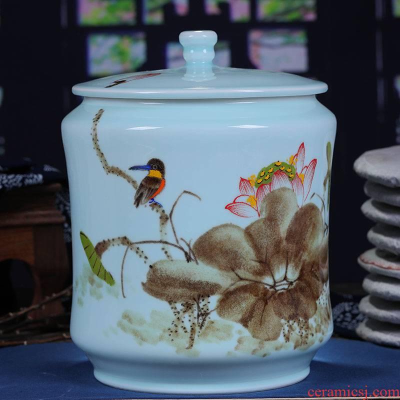 Jingdezhen chinaware lotus tea cake tin, general large contracted white tea cake box of tea cake box