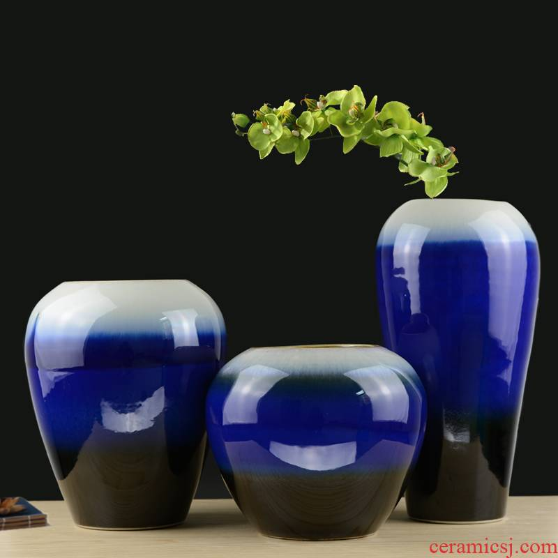 Jingdezhen ceramic blue vase manually contracted style living room TV ark, flower arranging household handicraft furnishing articles
